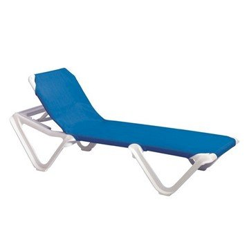 Nautical Sling Chaise Lounge With Plastic Resin Frame