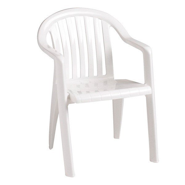 Miami Lowback Stacking Commercial Plastic Resin Armchair - 9 lbs