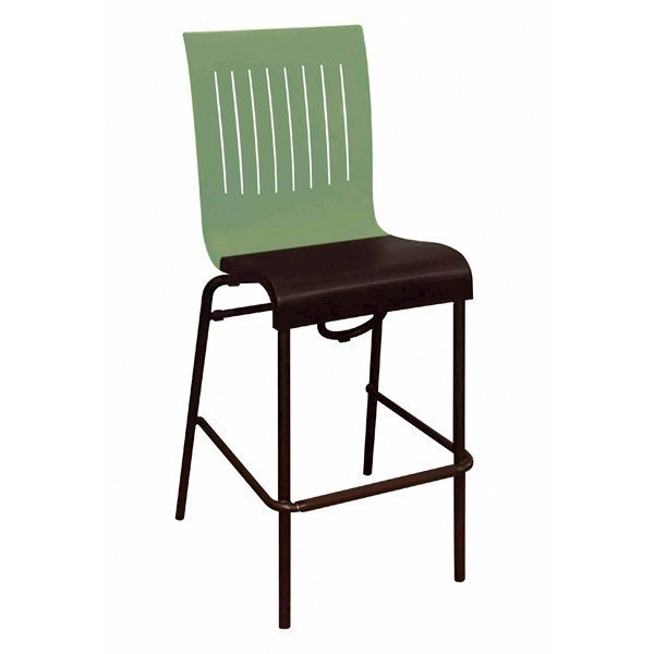 Viva Stacking Commercial Plastic Resin Barstool with Stackable Aluminum Legs