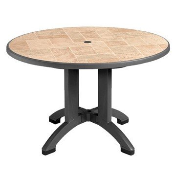 "48"" Round Aquaba Toscana Decor Plastic Resin Table"