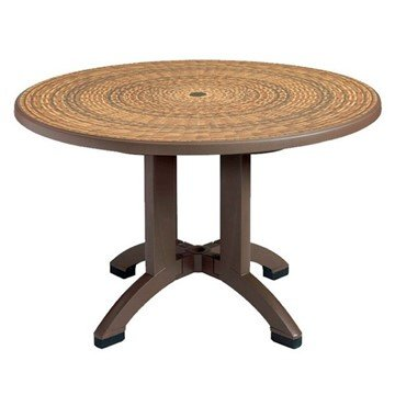 "48"" Round Aquaba Wicker Decor Plastic Resin Table"
