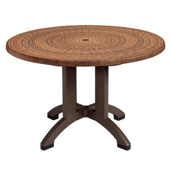 "42"" Round Atlanta Wicker Decor Plastic Resin Table"