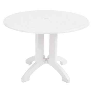 "42"" Round Atlanta White Decor Plastic Resin Table"