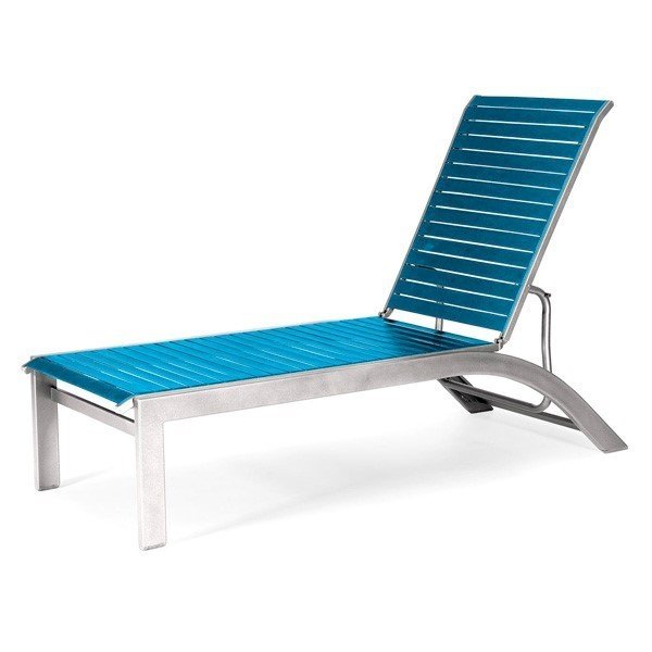 Telescope Kendall Strap Chaise Lounge with Armless Aluminum Frame