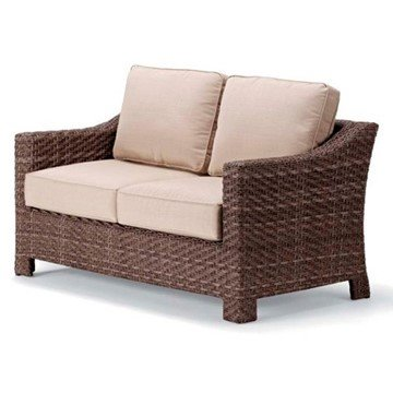 Telescope Lake Shore Outdoor Cushion Loveseat with Wicker Frame