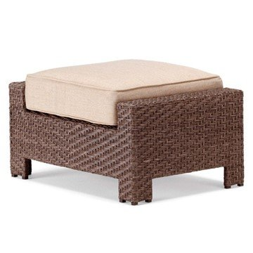 Telescope Lake Shore Outdoor Cushion Ottoman with Wicker Frame