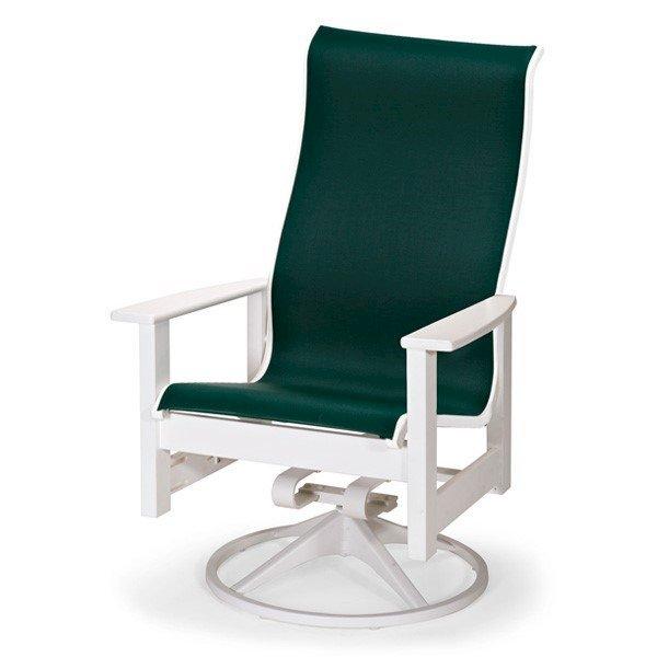 Telescope Leeward High Back Sling Swivel Rocker Dining Chair with Marine Grade Polymer Frame
