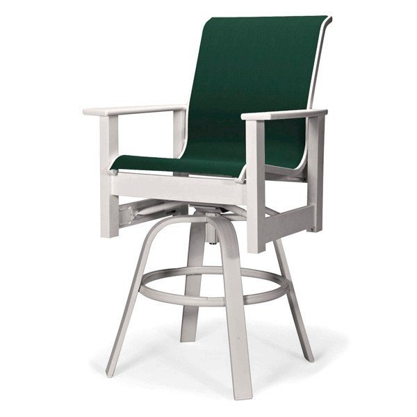 Telescope Leeward Sling Swivel Counter Chair with Marine Grade Polymer Frame