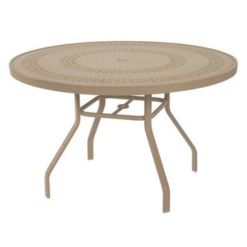 "47"" Round Punched Aluminum Patio Dining Table with Commercial Aluminum Frame"
