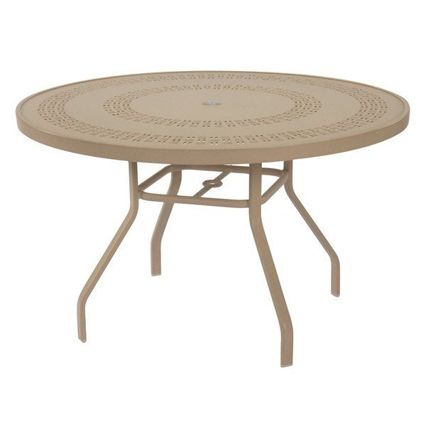 """47"""" Round Punched Aluminum Patio Dining Table with Commercial Aluminum Frame"""