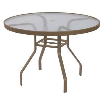"48"" Round Acrylic Patio Dining Table with Commercial Aluminum Frame"