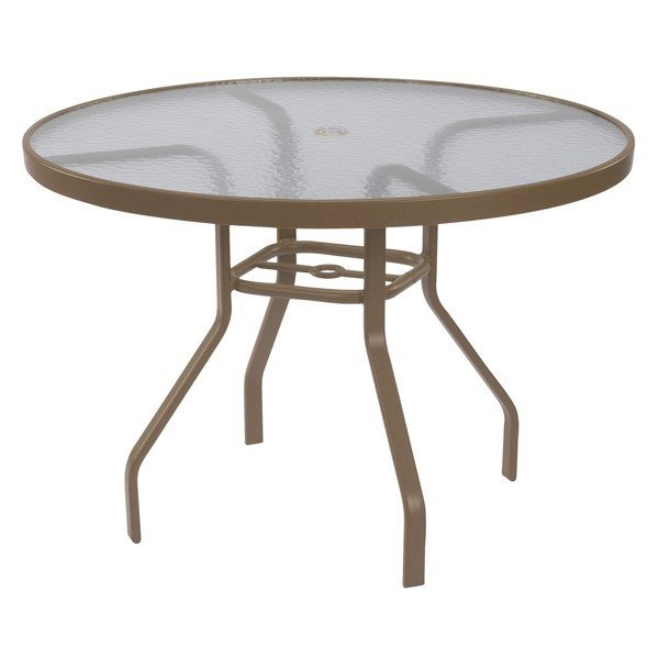 """48"""" Round Acrylic Patio Dining Table with Commercial Aluminum Frame"""