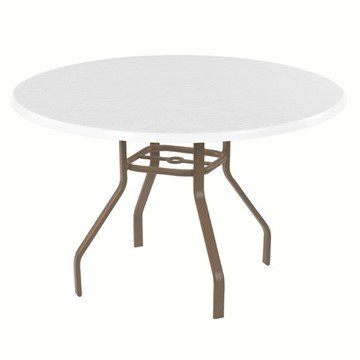 "48"" Round Fiberglass Patio Dining Table with 1"" Rectangular Commercial Aluminum Frame"