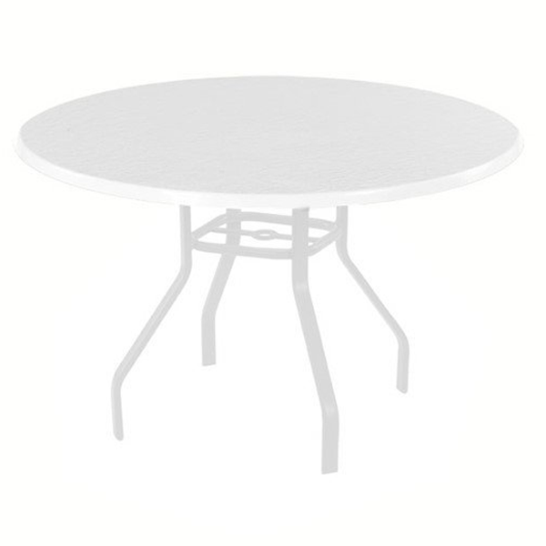 Quick Ship White Round Fiberglass Patio Dining Table with ...