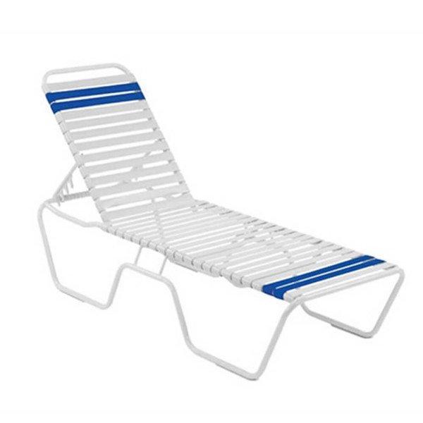 Quick Ship St. Maarten Vinyl Strap Chaise Lounge - Commercial Aluminum Frame