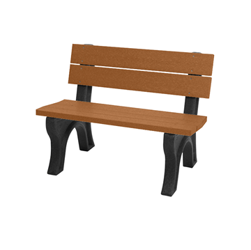 Traditional 4 ft. Recycled Plastic Backed Bench with Portable Frame