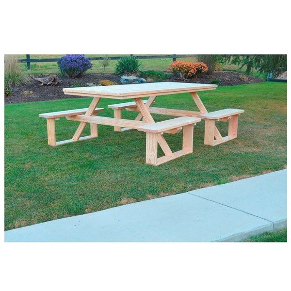 8 ft. Pressure Treated Pine Rectangular Walk-In Wooden Picnic Table