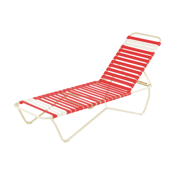 St. Lucia Vinyl Strap Chaise Lounge with Commercial Aluminum Frame