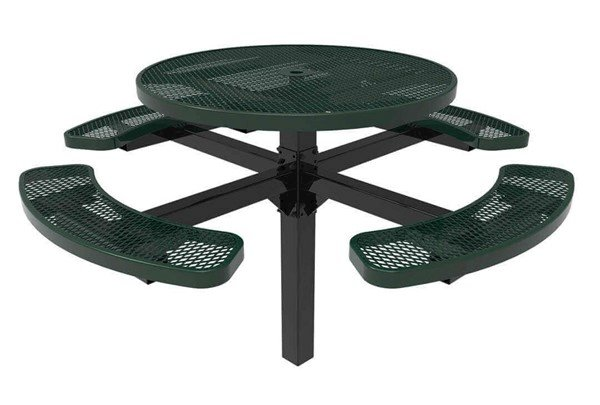 "ELITE 46"" Round Thermoplastic Polyethylene Coated Pedestal Picnic Table - 388 lbs."