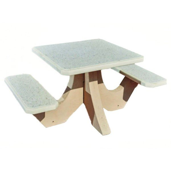 "36"" Square 2-Seat Concrete Picnic Table - 820 Lbs."