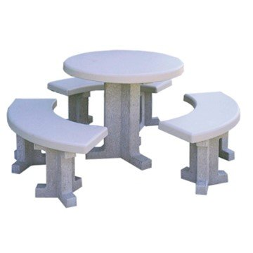 "38"" Round Independent Pedestal Concrete Picnic Table with Detached Seat - 1115 lbs."