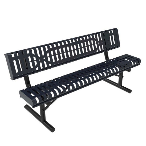 RHINO Slatted Rolled Bench with Back