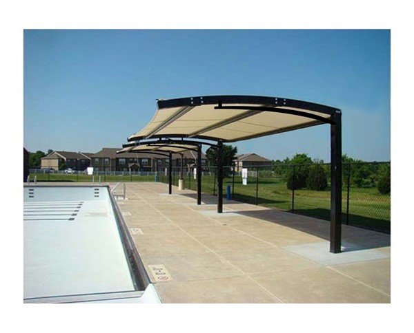 Custom Fabric Arched Cantilever Shade Structure with Steel Frame