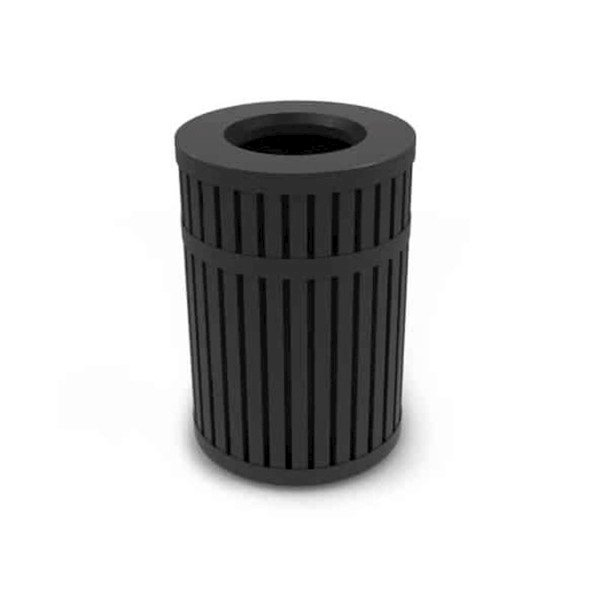 45 Gallon Round Parkview Steel Trash Receptacle