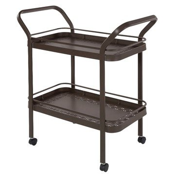 Punched Aluminum Serving Cart with Shelves