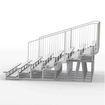 27 ft. 8 Row Aluminum Bleacher with Guardrails and Double Footboards