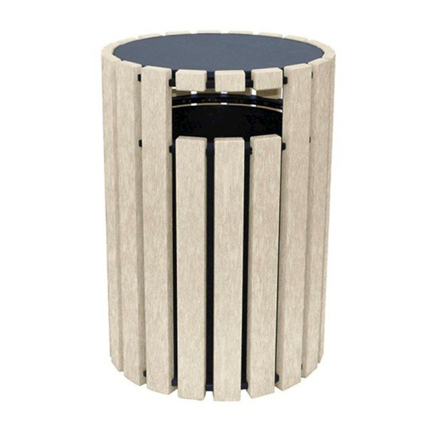 33 Gallon Round Recycled Plastic Trash Receptacle