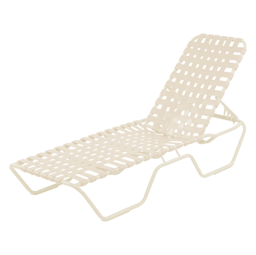 Commercial Vinyl Strap Pool Furniture St. Maarten Cross Weave Strap Chaise Lounge