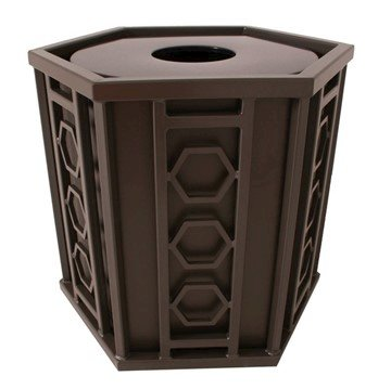 Biscayne 32 Gallon Powder Coated Steel Trash Receptacle