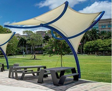 Tornado Fabric Umbrella Shade Structure Umbrella With 12 Ft. Peak Height And Single Steel Column - Small