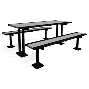 Arches Recycled Plastic Pedestal Table with Detached Benches - 6 Ft.