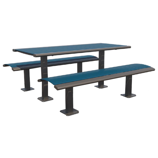 Arches Steel Pedestal Table with Detached Benches - 6 Ft.