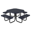 "46"" Rolled Perforated Octagonal Polyethylene Coated Metal Picnic Table"
