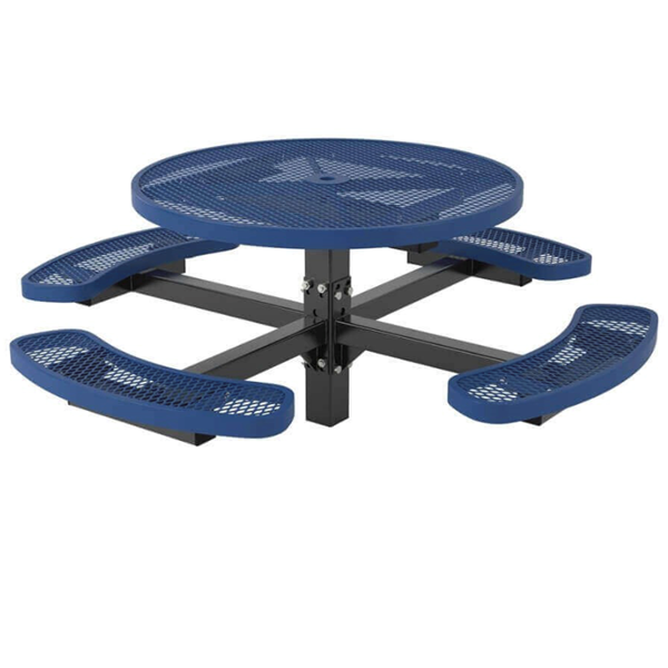 """46"""" Round Textured Polyethylene Coated Expanded Metal Pedestal Picnic Table"""