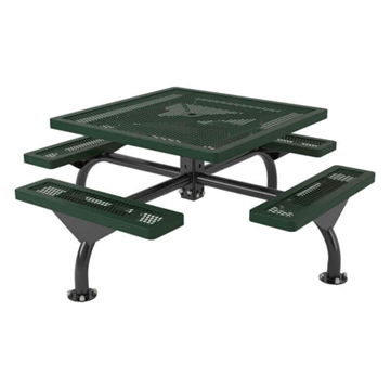"46"" Square Web Style Polyethylene Coated Metal Picnic Table"