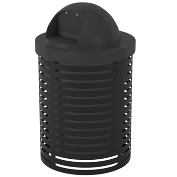 Horizontal Strap Steel Trash Receptacle