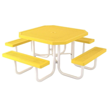 "Octagonal 46"" Polyethylene Coated Steel Picnic Table"