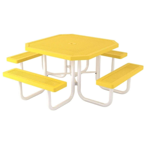 "Octagonal 46"" Polyethylene Coated Steel Picnic Table"