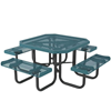 """Octagonal 46"""" Textured Polyethylene Coated Expanded Metal Portable Picnic Table"""