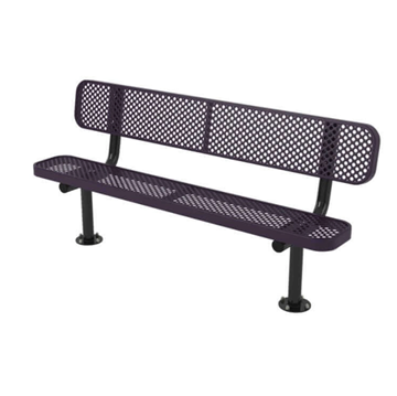 Ultra Leisure Perforated Style Polyethylene Coated Steel Stationary Bench