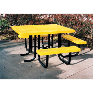 "46"" x 57 "" ADA Regal Style Plastic Coated Expanded Steel Picnic Table"