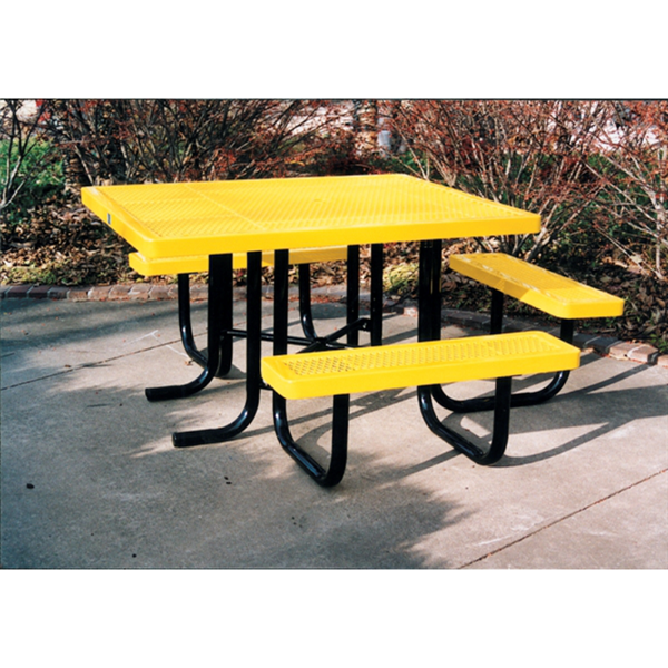 """46"""" x 57 """" ADA Regal Style Plastic Coated Expanded Steel Picnic Table"""