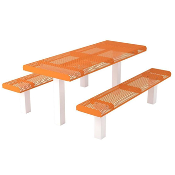 Rolled Expanded Metal Rectangular Pedestal Picnic Table with Detached Seats