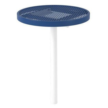 "30"" Round Expanded Metal Thermoplastic Coated Bar Height Cafe Table"