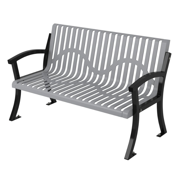 Classic Casino Thermoplastic Coated Steel  Bench with Back