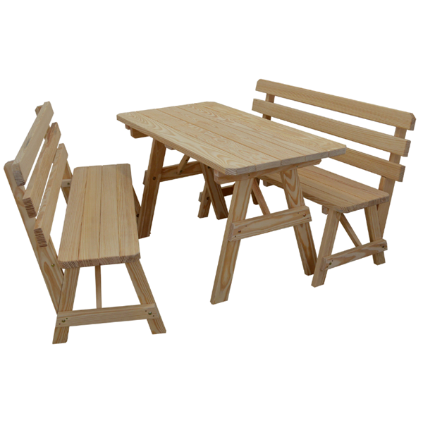 6 Ft. Picnic Table with 2 Backed Benches